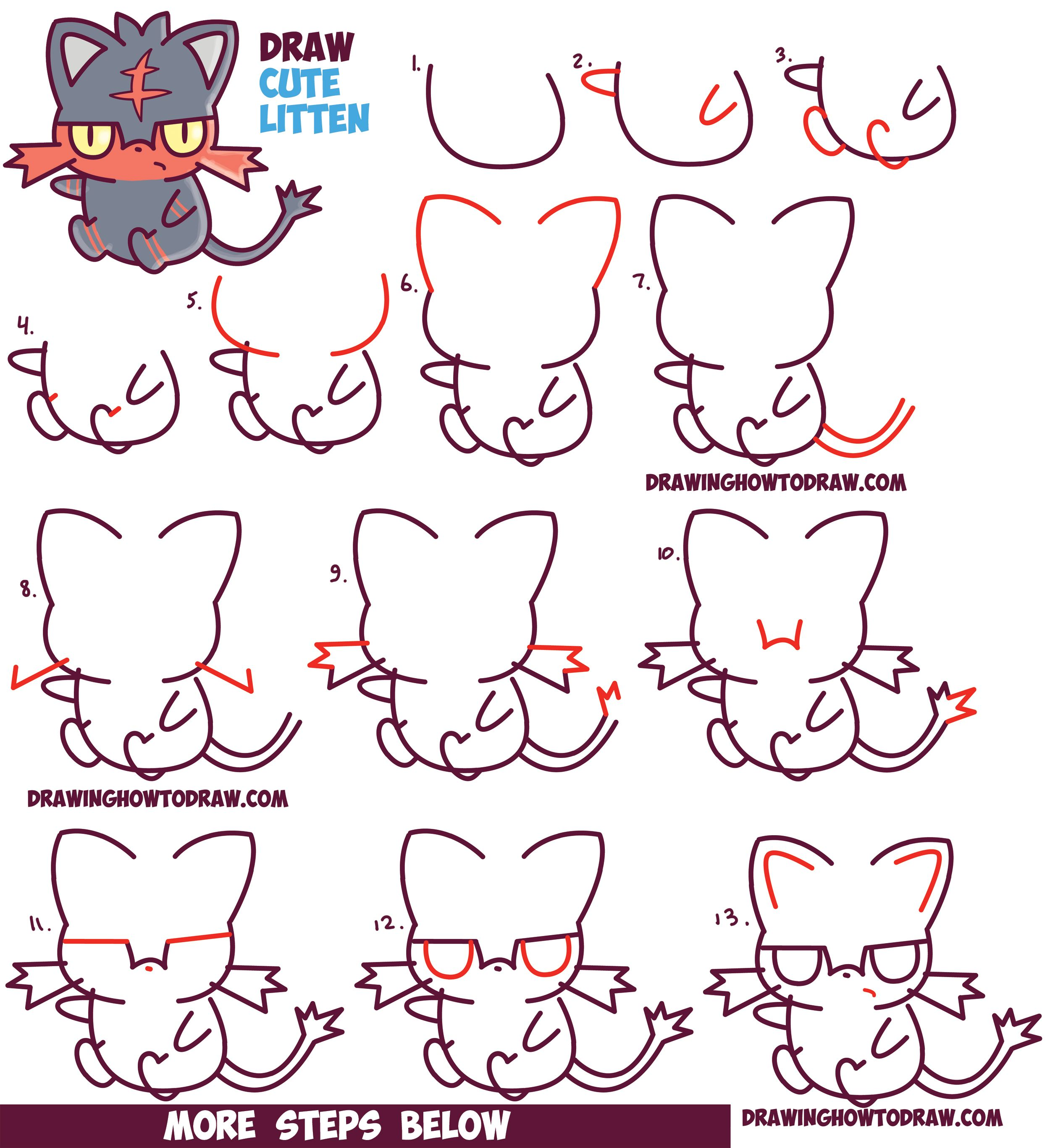 2500x2734 How To Draw Cute Litten Evolution From Pokemon Sun And Moon
