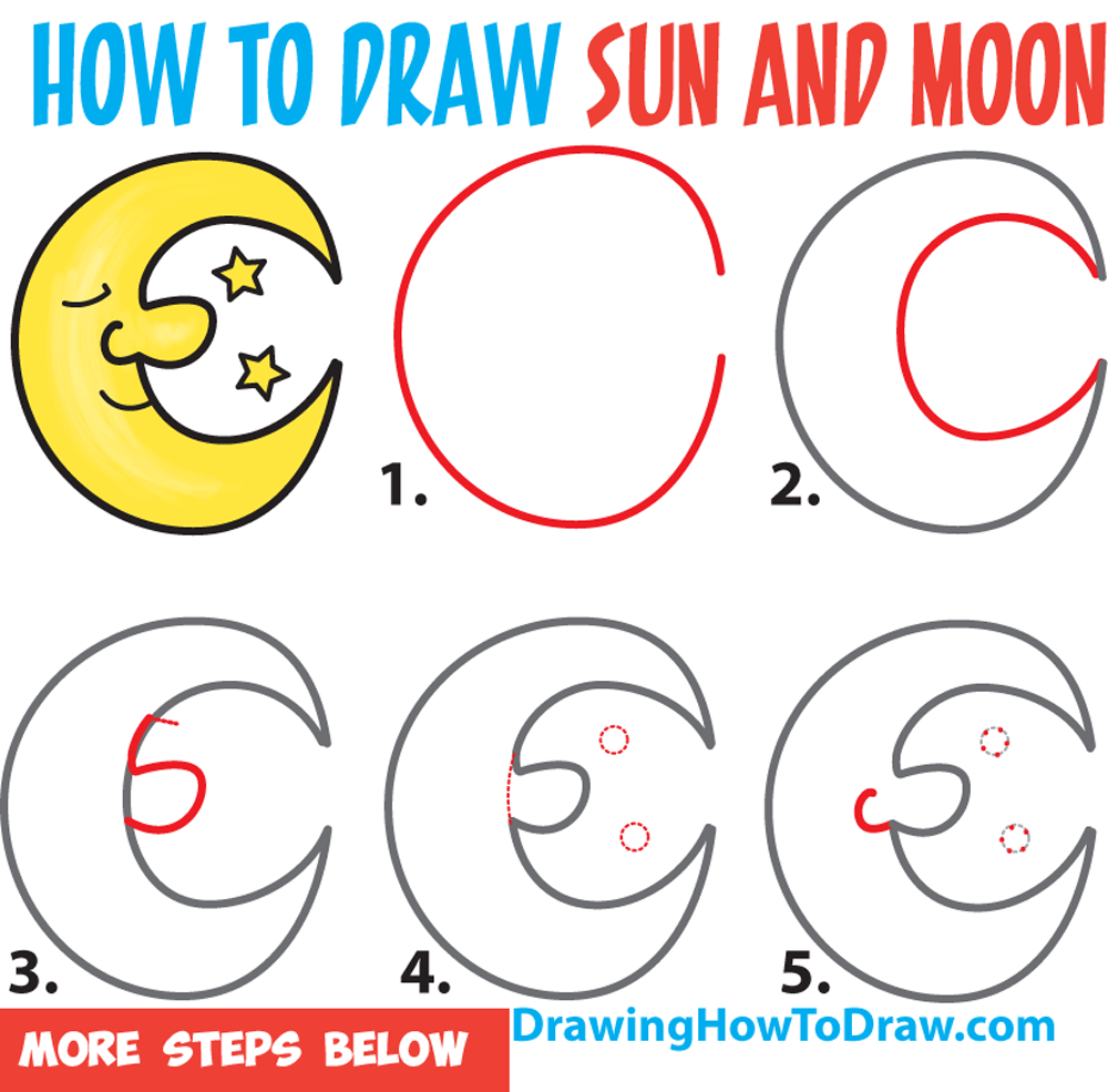 1000x985 How To Draw A Cartoon Moon And Stars Easy Step By Step Drawing