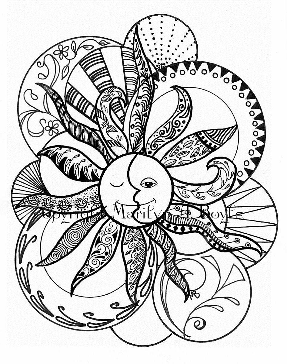 947x1198 Adult Coloring Page Zentangle, Digital Download, Sun And Moon