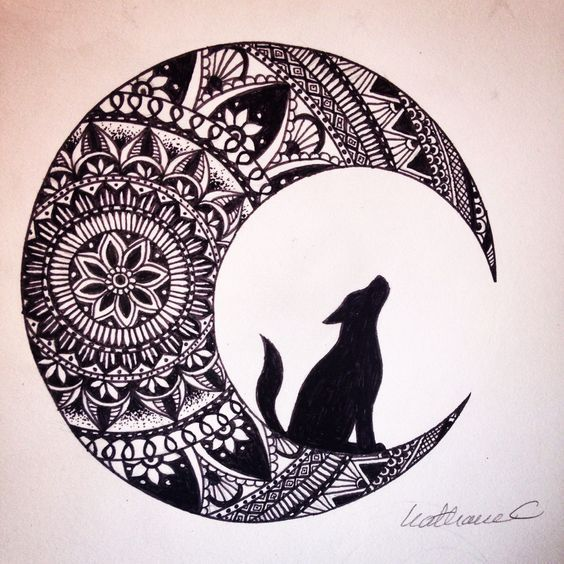 564x564 Image Result For Drawing Zentangle Moon And Wolf Art