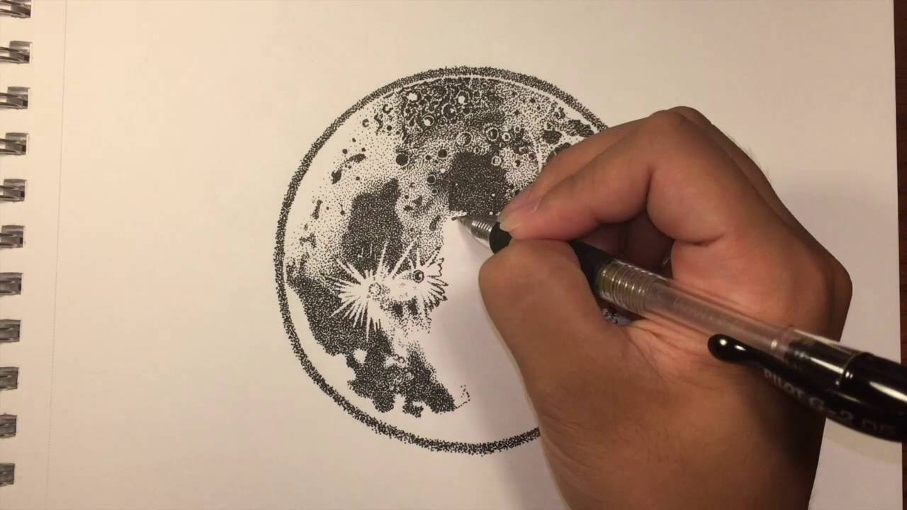 1280x720 Ink Moon Drawing (Stippling)