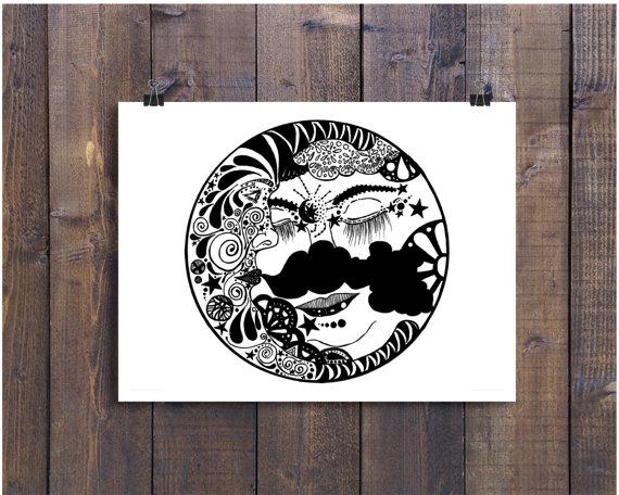 570x456 Sun And Moon Art Sun Art Moon Art Ink Drawing Sun Doodle