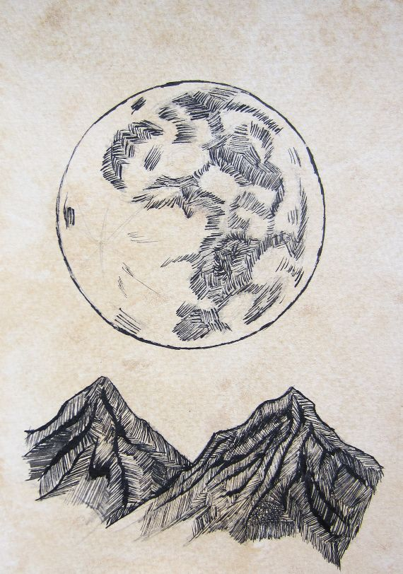 570x812 Moon + Mountains. (Replace Moon With Compass) Art