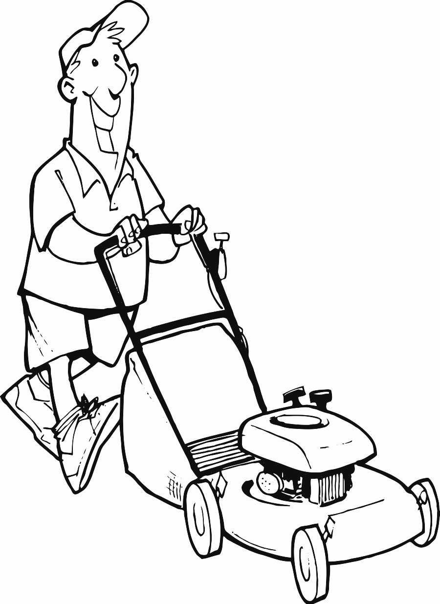 900x1235 Man Lawn Mower Printable Image Illustration Sketch For Man Lawn