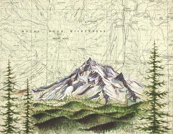 570x442 Mt Hood Wilderness Mount Hood Painting Print Mountain