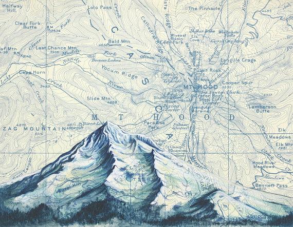 570x443 Mt Hood In Blue Mount Hood Winter Painting Print Mountain