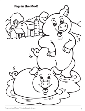 281x365 Pigs In The Mud! Amazing Animals Coloring Page Printable