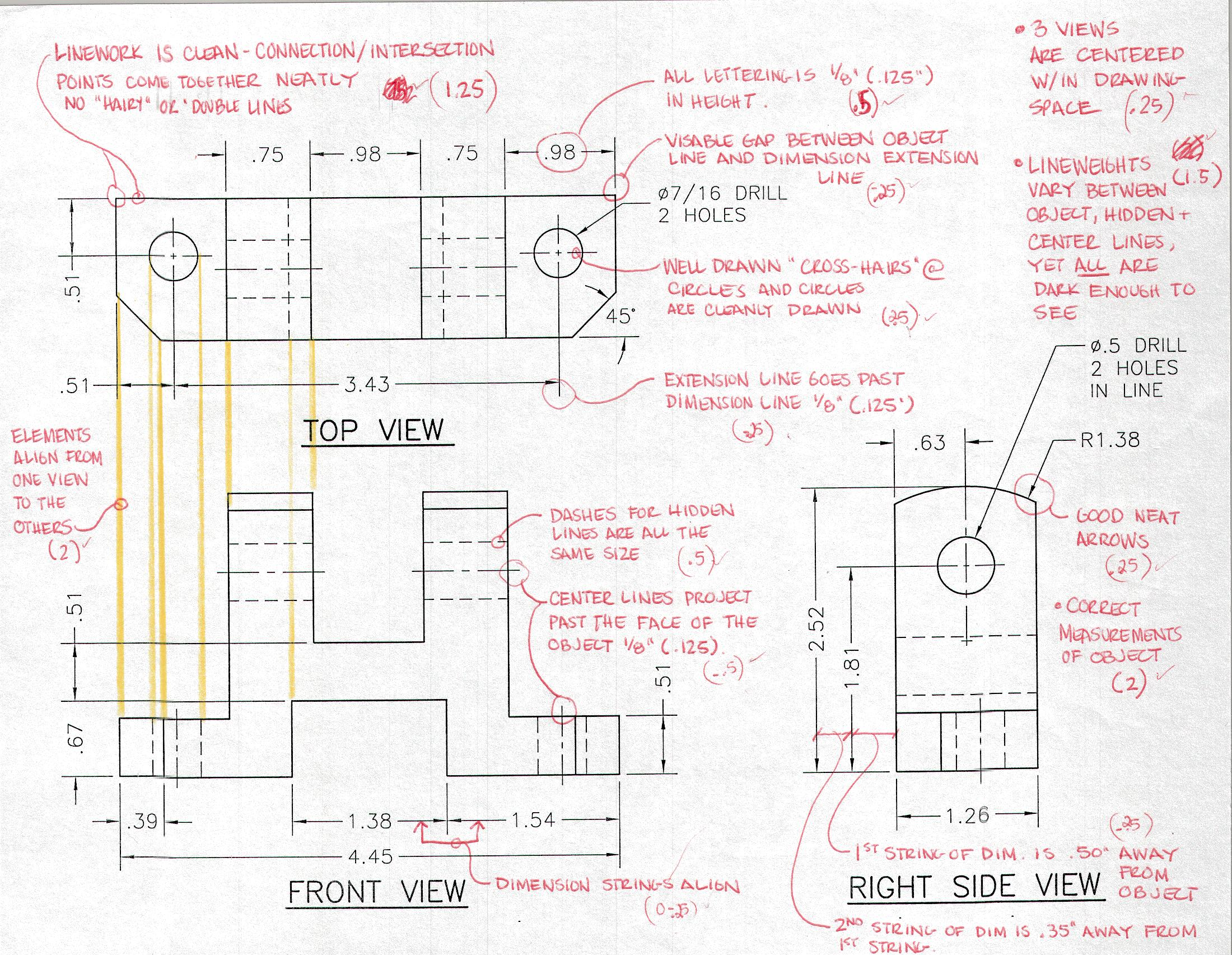 2200x1705 3. Multi View Orthographic Projection Drawing