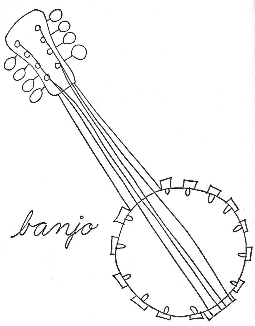 866x1109 Lois Ehlert Banjo Tekening Muziek