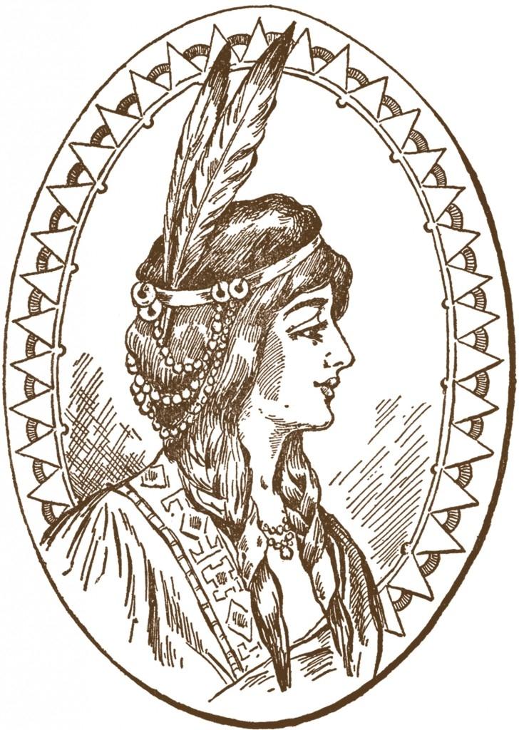 728x1024 Indian Headdress Woman Clipart