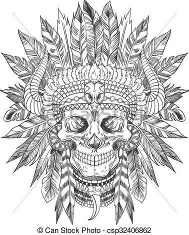 378x470 Native American Art Drawings Indian Chief Skull Clip Art Vector