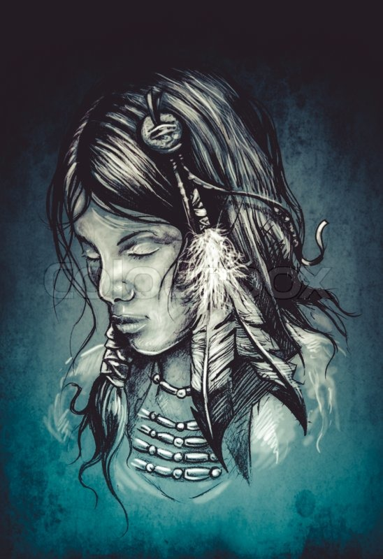 548x800 American Indian Woman, Tattoo Sketch, Handmade Design Over Vintage