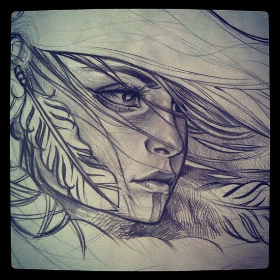 550x550 Native Indian Woman Drawing Group Of Wind In My Hair We Heart It