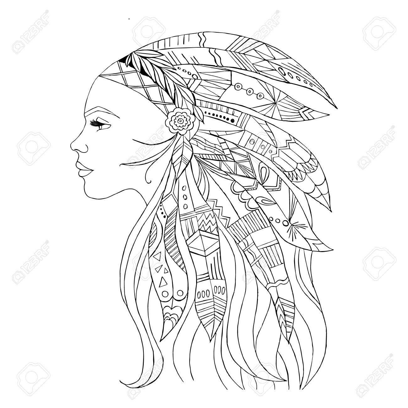 1300x1300 American Indian Girl Drawing Native American Indian Girl In Top