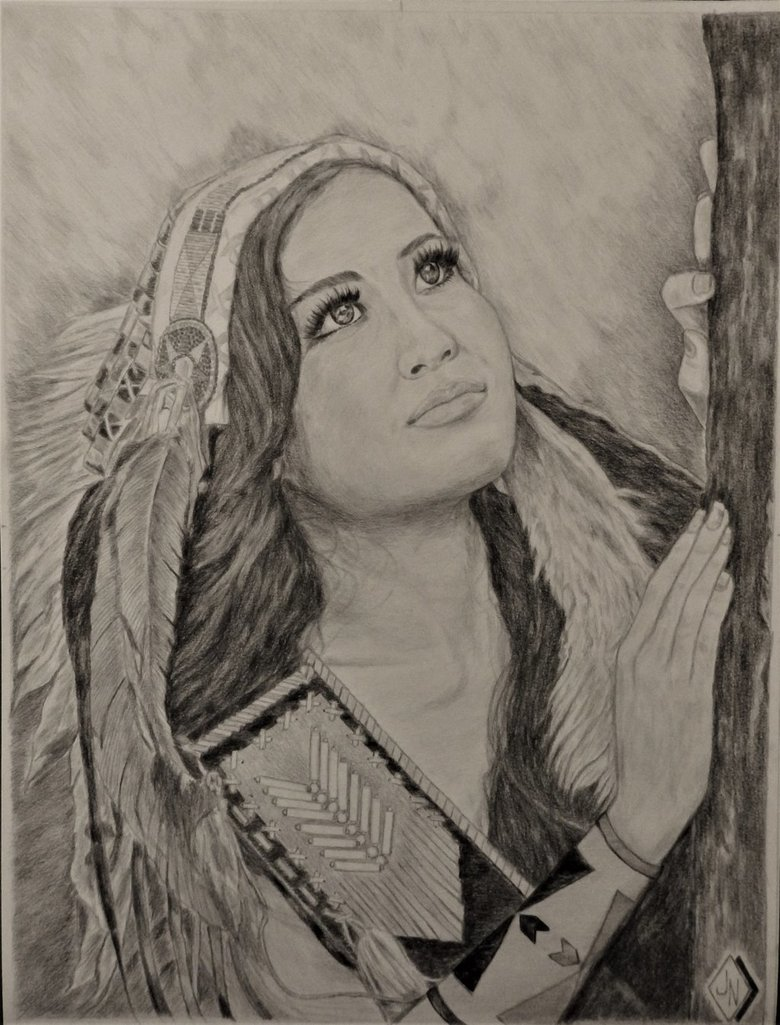 780x1025 Portrait Drawing Of A Native American Indian Woman By Jnorth1000