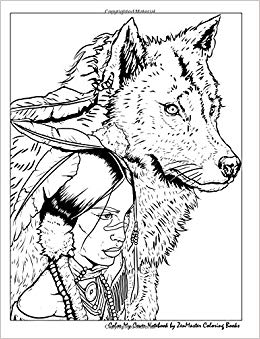 260x339 Color My Cover Notebook (Native American Woman And Wolf