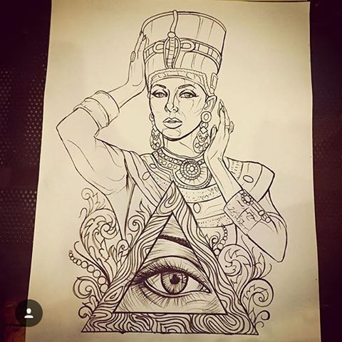 480x480 Collection Of Queen Nefertiti Drawing Tattoo High Quality