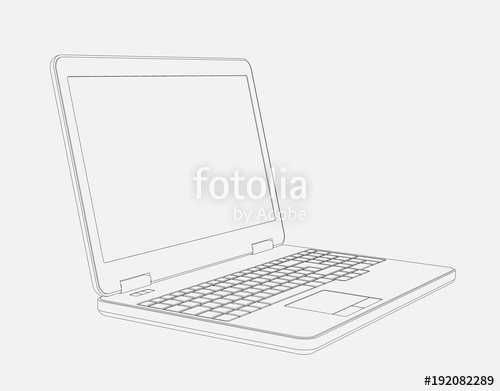 500x391 Line Cad Drawing Of Laptop Computer From Left With Perspective