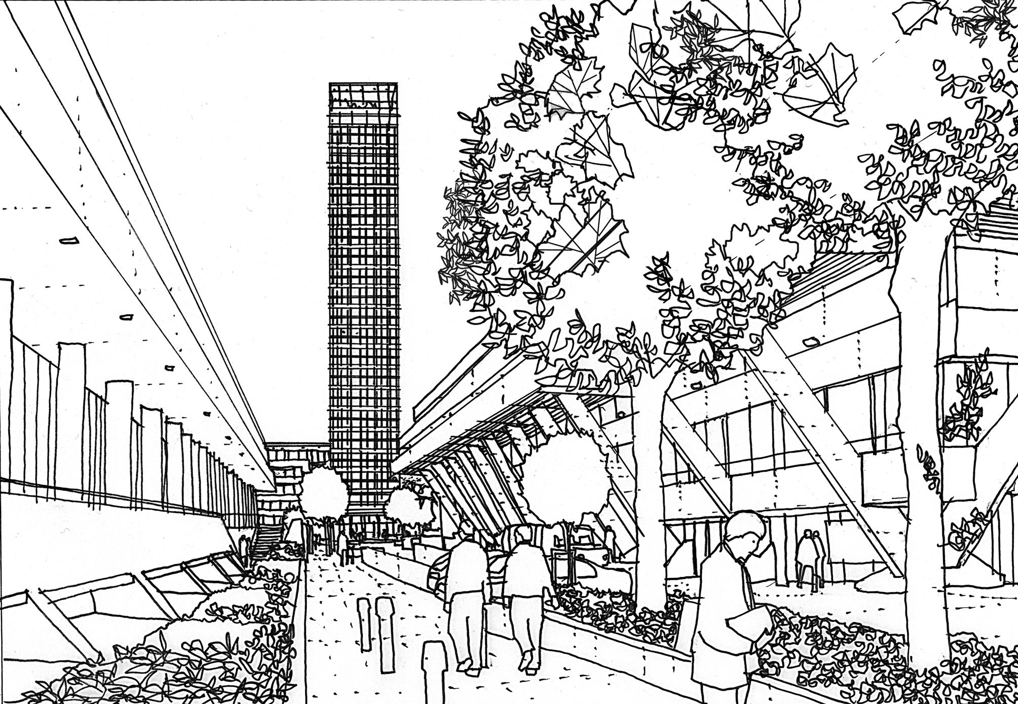 2008x1389 New York Line Drawing