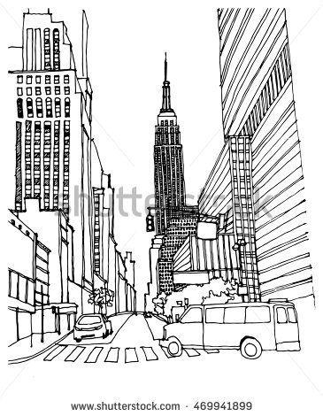 365x470 Scene Street Illustration. Hand Drawn Ink Line Sketch New York