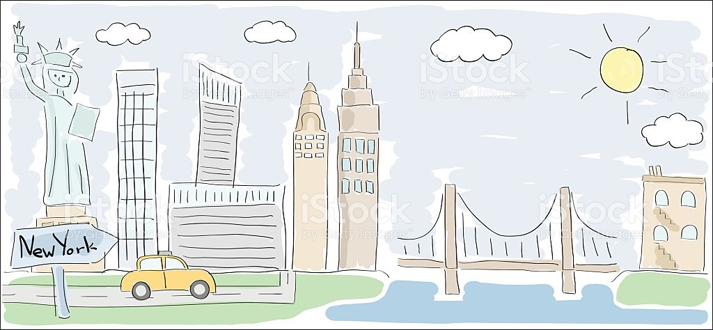 1024x474 Collection Of New York City Cartoon Drawing High Quality
