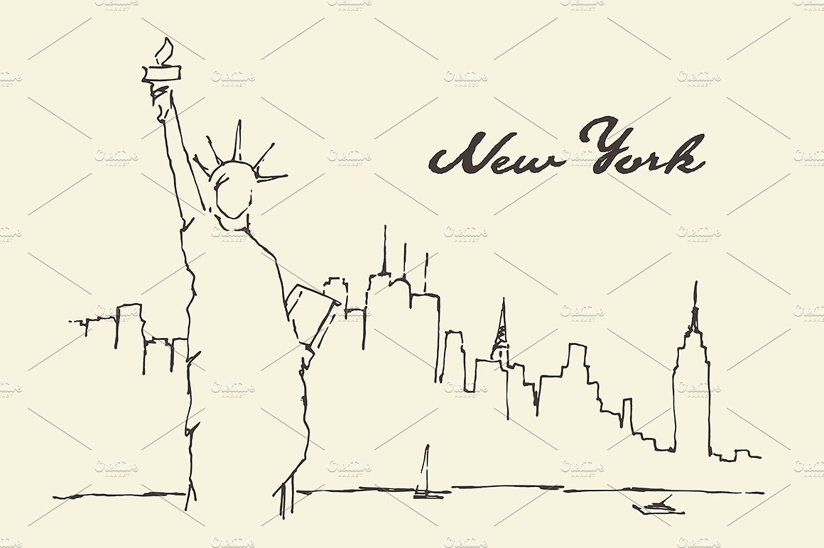 1160x772 Collection Of New York Easy Drawing High Quality, Free