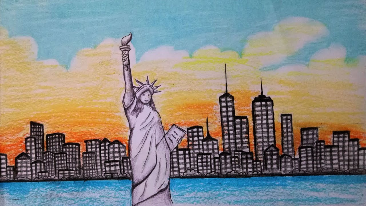 1280x720 How To Draw Scenery Of New York,statue Of Liberty.step By Step