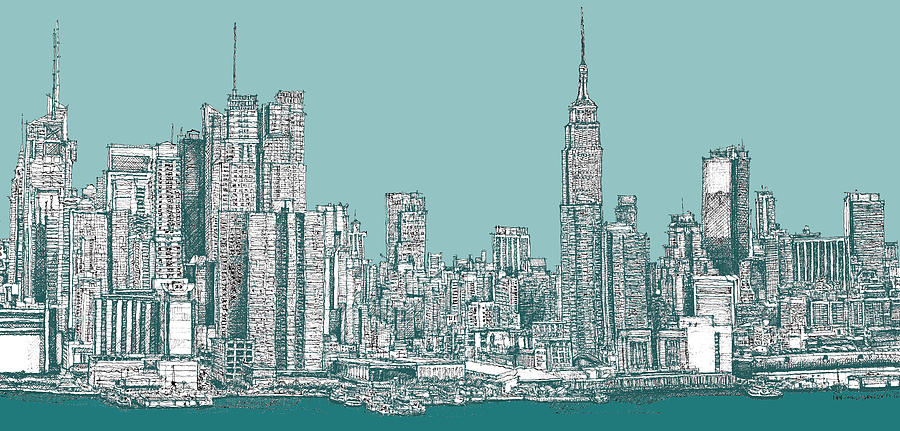 900x431 New York City In Blue Green Drawing By Building Art