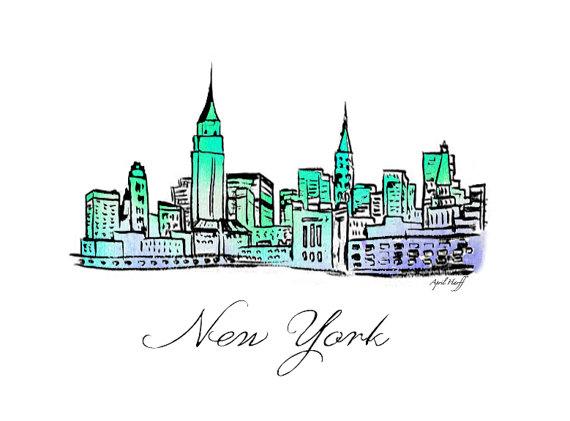 570x421 New York City Skyline Watercolor Print Wall Art Sky