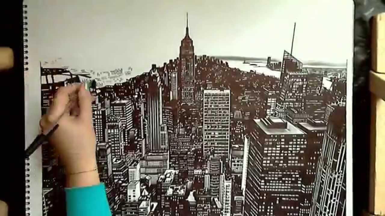 1280x720 Realistic Drawing Manhattan, New York