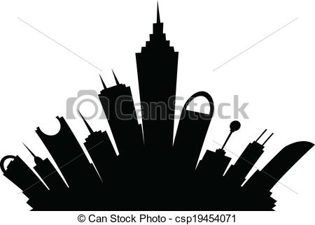 New York Skyline Silhouette Drawing