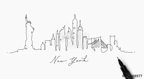500x276 Pen Line Silhouette New York Stock Image And Royalty Free Vector
