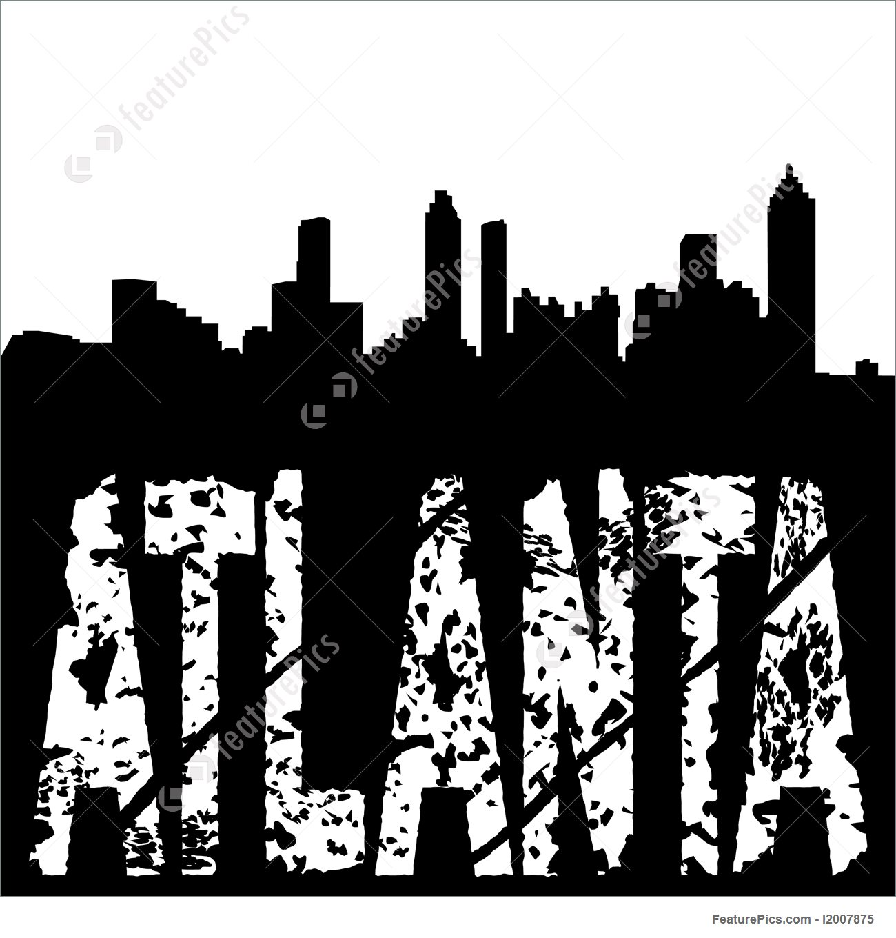 1300x1360 Drawn Skyscraper Atlanta Skyline
