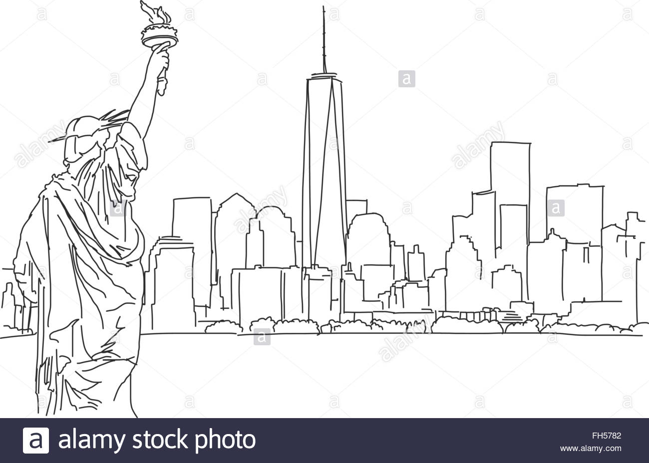 1300x928 Free Hand Sketch Of New York City Skyline. Vector Outline Scribble