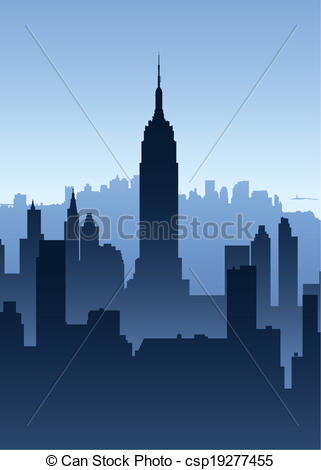 321x470 Manhattan Skyscrapers. Skyline Silhouette Of New York City