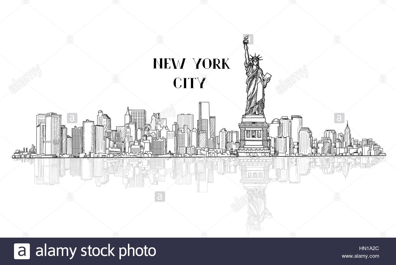1300x871 New York, Usa Skyline Sketch. Nyc City Silhouette With Liberty