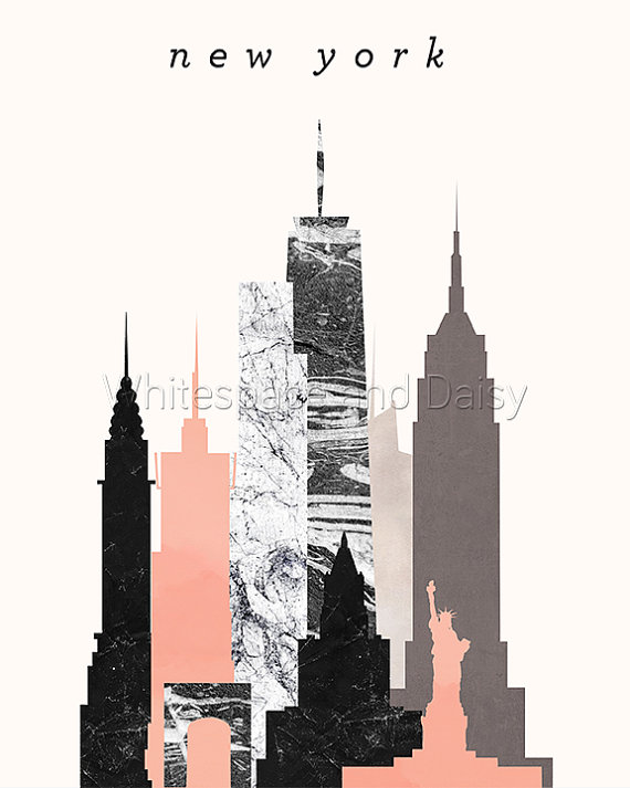 570x713 New York Skyline Art New York Art New York Map New York Print New