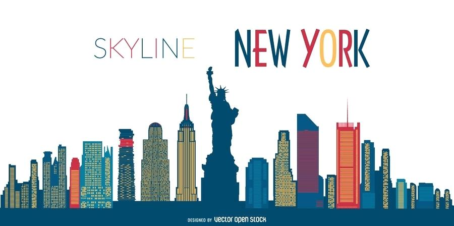 900x448 New York Skyline Outline Together With New Skyline Silhouette