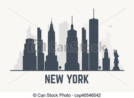 450x329 New York City Lines. New York City Architecture Skyline Black