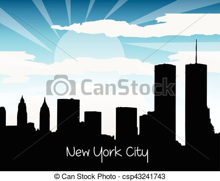 450x370 New York City Silhouette. New York City Modern Buildings