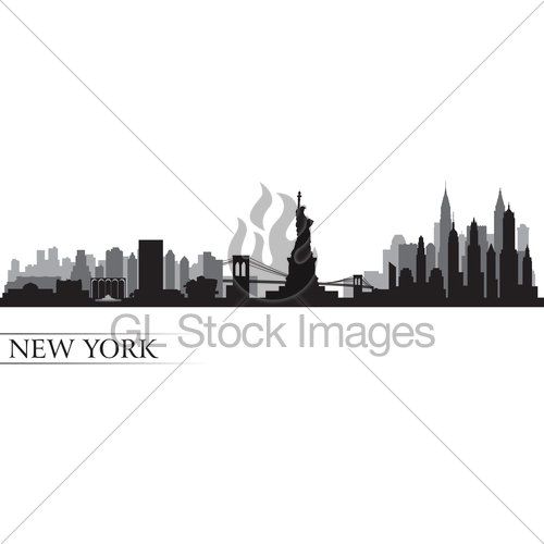 500x500 New York City Skyline Detailed Silhouette Gl Stock Images