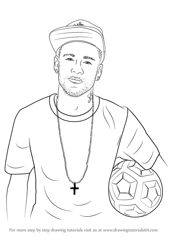 566x800 Learn How To Draw Neymar Jr. (Footballers) Step By Step Drawing