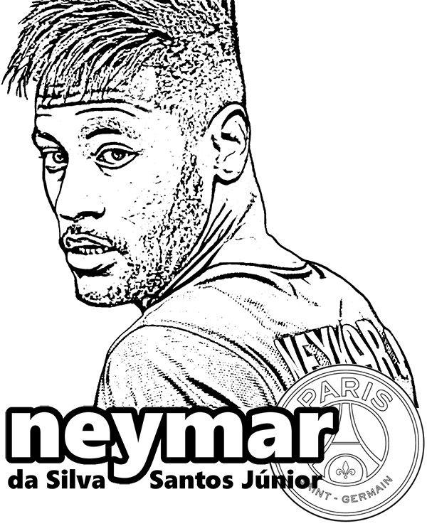 600x740 Neymar Jr Coloring Pages Neymar Da Silva Santos Paris Saint