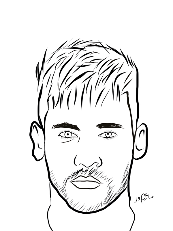 600x800 Collection Of Neymar Line Drawing High Quality, Free