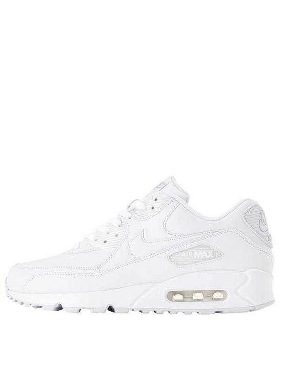 550x733 Nike Air Max 90 Mens Leather Trainers Whitewhite Kcfwab