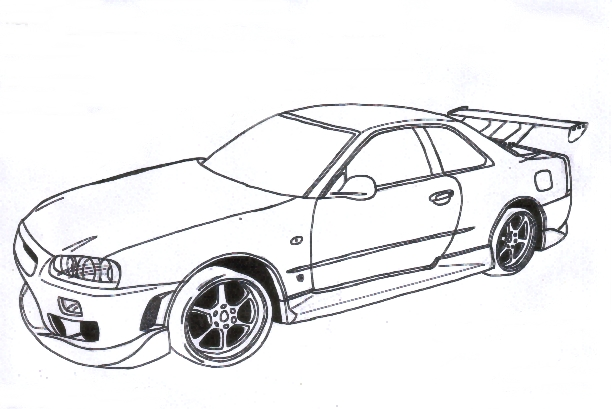 614x409 Coloring Pages Nissan Gtr Elegant Gtr Drawing