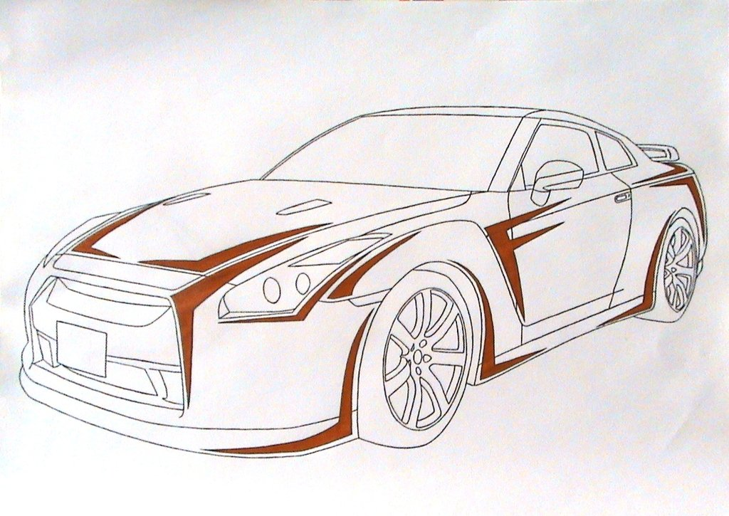 1024x725 Collection Of R35 Gtr Drawing High Quality, Free Cliparts