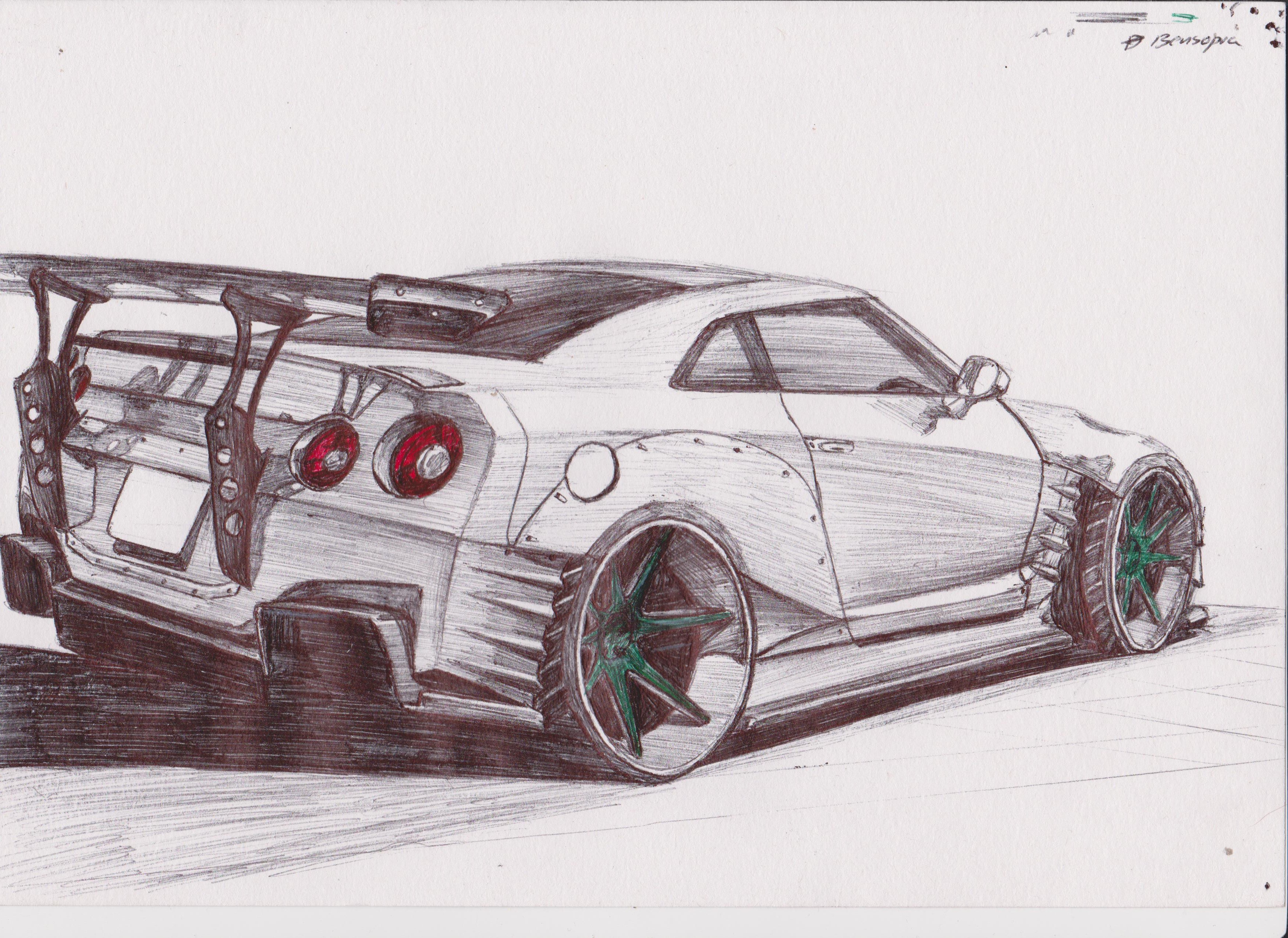Nissan Gtr R35 Drawing At Getdrawings Com Free For
