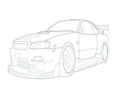 400x322 Coloring Pages For Teens Gt R Skyline Drawing
