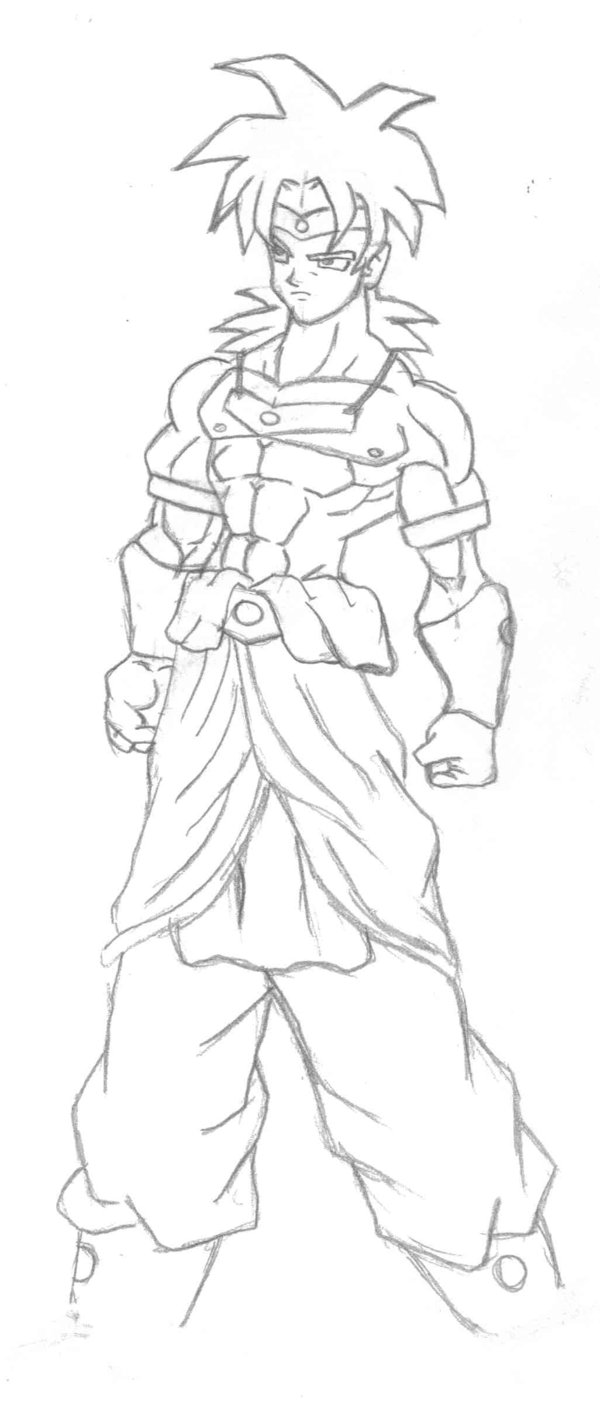 600x1401 Broly Sketch By Boutassai